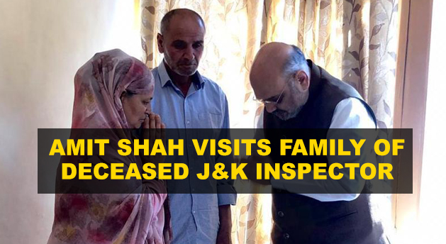 Amit Shah visits family of Inspector killed in Anantnag attack