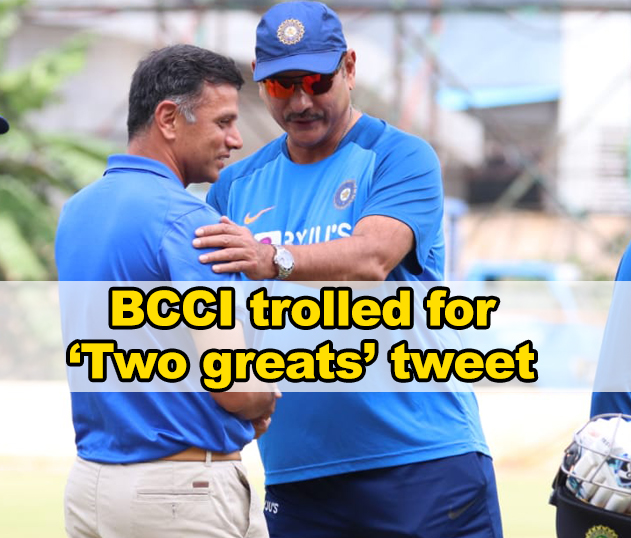 BCCI trolled for 'two greats' tweet after Dravid met Shastri