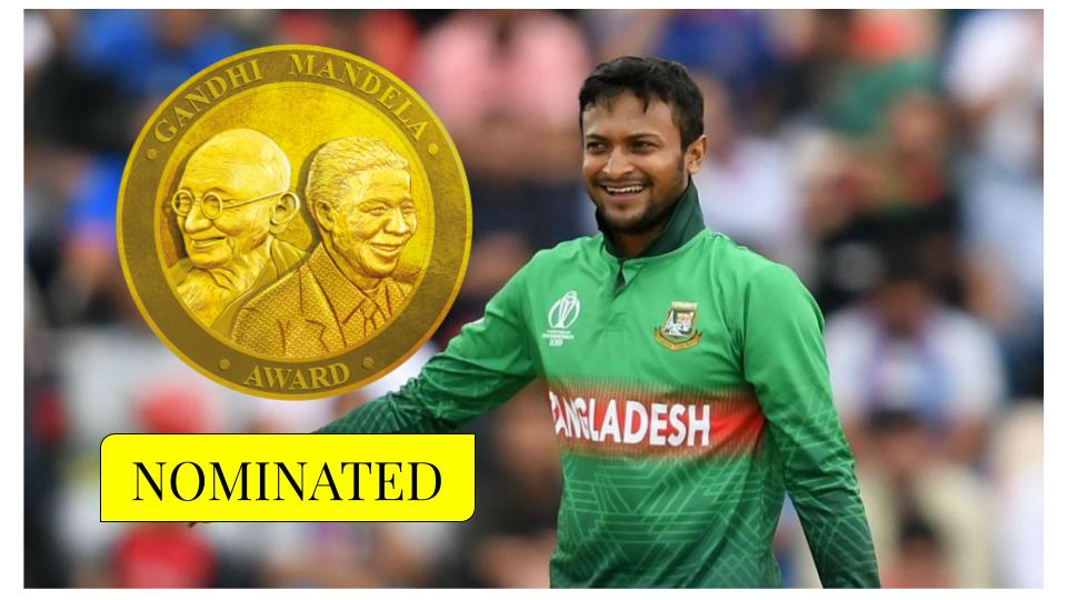 Shakib Al Hasan nominated for Gandhi Mandela Award 2019