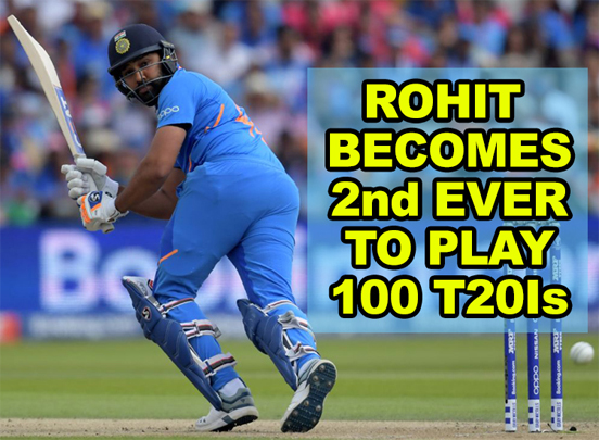 Rohit Sharma becomes second male player ever to play 100 T20Is