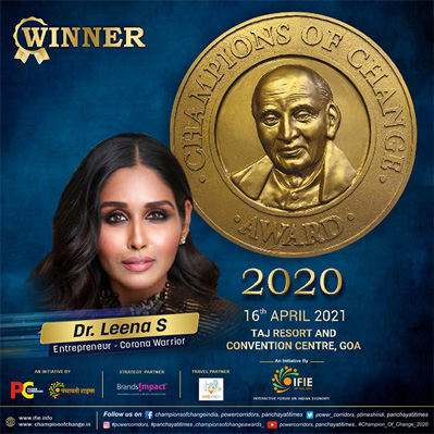 Dr. Leena S. felicitated with Champions of Change Award 2020