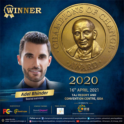 Adel Bhinder felicitated with Champions of Change Award 2020